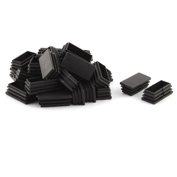 Unique Bargains Home Office Plastic Rectangle Table Chair Leg Tube Insert Black 25 x 50mm 30pcs