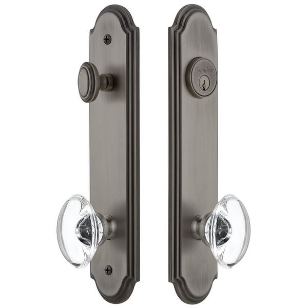 """Grandeur ARCPRO_TP_ESET_234 Arc Solid Brass Tall Plate Single Cylinder Keyed Entry Set with Provence Crystal Knob and 2-3/4"""""""