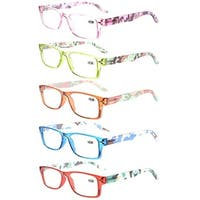 5-Pack Readers Spring-Hinges Camouflage Temples Reading Glasses Women +1.50
