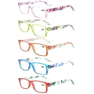 5-Pack Readers Spring-Hinges Camouflage Temples Reading Glasses Women +1.75