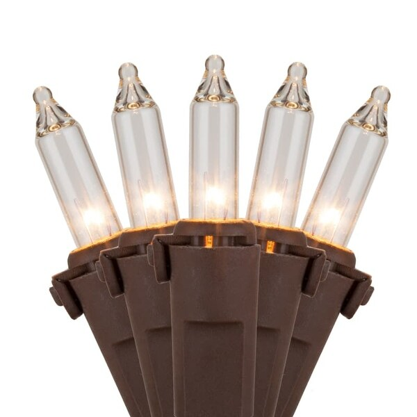 "Wintergreen Lighting 17559 25.5' Long Outdoor Premium 50 Mini Light Holiday Light Strand with 6"" Spacing and Brown Wire"