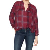 Lucky Brand Red Women's Size XS Plaid Pintuck-Pleated Shirt