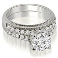 1.50 cttw. 14K White Gold Cathedral Milgrain Round Cut Diamond Bridal Set - Thumbnail 0