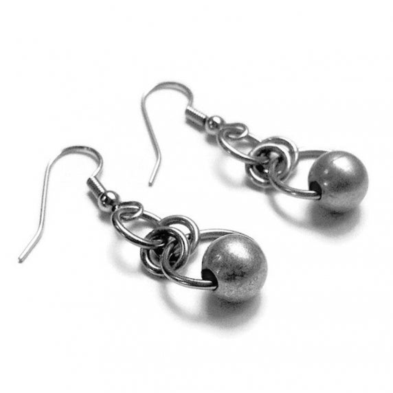 Loralyn Designs Silver Circle Bead Dangle Earrings Stainless Steel