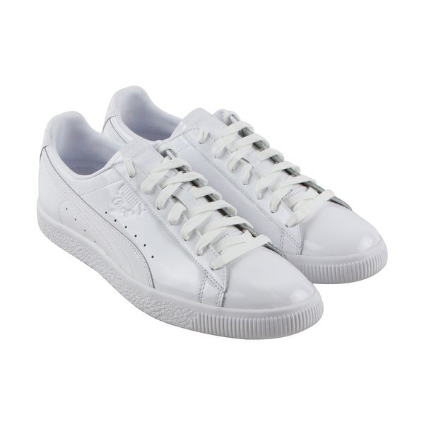 new styles 8d0e9 38e47 Puma Clyde Dessed Mens White Leather Lace Up Sneakers Shoes
