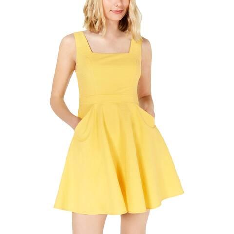 City Studio Womens Juniors Mini Dress Woven Square-Neck - Yellow