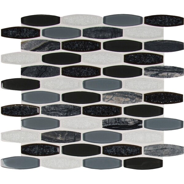 "MSI SMOT-SGLSOB-HAL8MM 12"" x 11-7/16"" Oval Mosaic Sheet - Varied Glass and Stone Visual - Sold by Carton (9.5 SF/Carton) - Gris"
