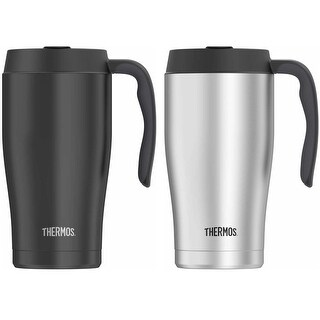 Thermos (2) 22 Ounce Vacuum Insulated Black and Stainless Steel Mug