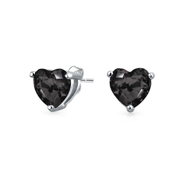 Bling Jewelry Cz Black Heart Shaped Stud Earrings 925 Sterling Silver 7mm