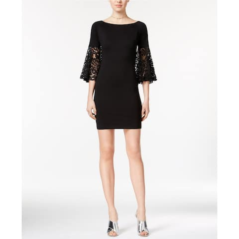Bar III Women's Lace-Sleeve Sheath Dress, Black (XS) - X-Small