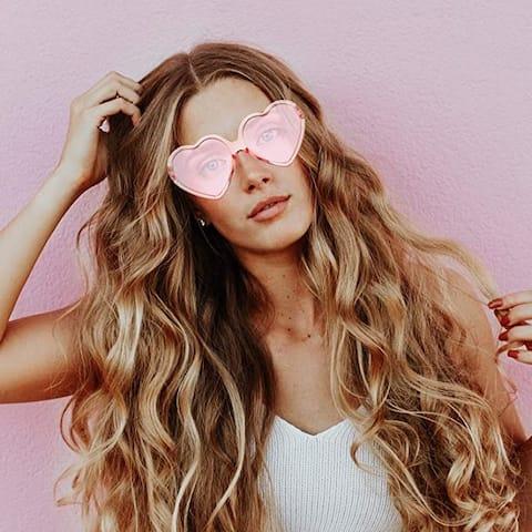 Heart Shaped Vintage Eye-Glasses Fashion Women Lovely Style - Pink