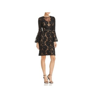 Tadashi Shoji Womens Special Occasion Dress Lace Bell Sleeves
