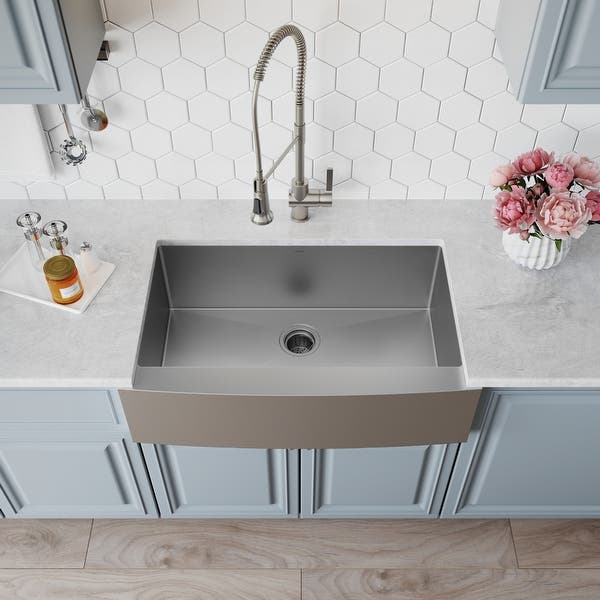 Kraus Standart Pro Stainless Steel 30 In 1 Bowl Farmhouse Kitchen Sink Overstock 3381326