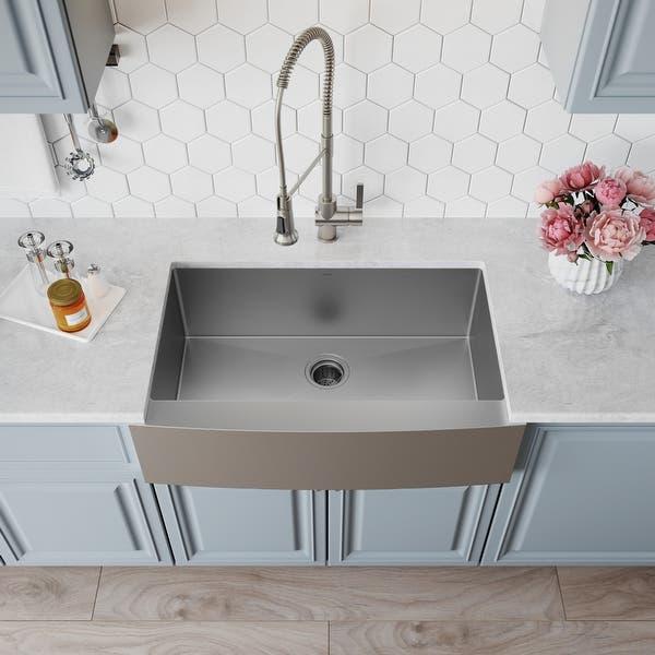 Kraus Standart Pro Stainless Steel 33 In 1 Bowl Farmhouse Kitchen Sink Overstock 4282008