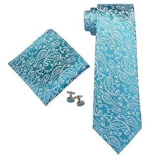 Men's Blue Paisley 100% Silk Neck Tie Set Cufflinks & Hanky 18532 - regular