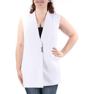 ALFANI $90 Womens New 1419 White V Neck Sleeveless Vest Casual Top 16 B+B