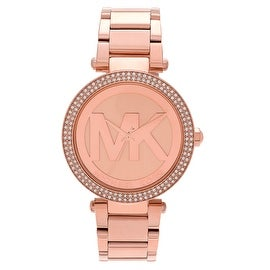 Michael Kors Women's 'Parker' MK5865 Rose Goldtone Stainless Steel Crystal Accent Bracelet Watch
