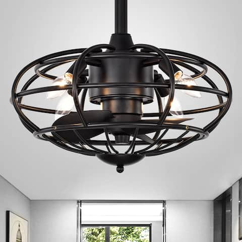 Monti Matte Black 18-Inch 3-Blade Ceiling Fan with Caged Metal Frame (Includes Remote)