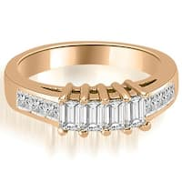 1.00 cttw. 14K Rose Gold Channel Princess and Emerald Cut Diamond Wedding Band