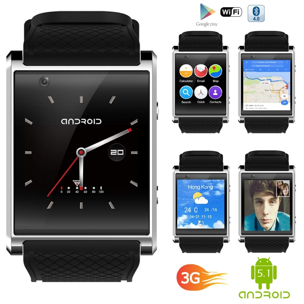 NEW 1.54-inch OLED SmartWatch by Indigi® [Android 5.1 OS + 3G GSM Unlocked + Bluetooth 4.2 Sync + QuadCore CPU] - Thumbnail 0