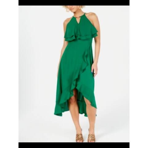 KENSIE Womens Green Sleeveless Midi Ruffled Party Dress Size 8