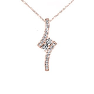Link to De Couer  IGI Certified 10K Rose Gold 1/2ct TDW Diamond Two Stone Necklace - Pink Similar Items in Necklaces