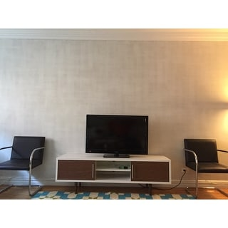 Mid-Century White and Brown TV Stand by Baxton Studio