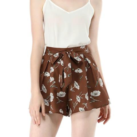 Women Elastic Waist Floral Print Summer Boho Beach Shorts