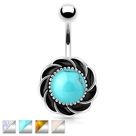Flower with Center Gem 316L Surgical Steel Navel Ring (Sold Ind.)
