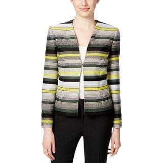 Tahari ASL Womens Blazer Tweed Striped
