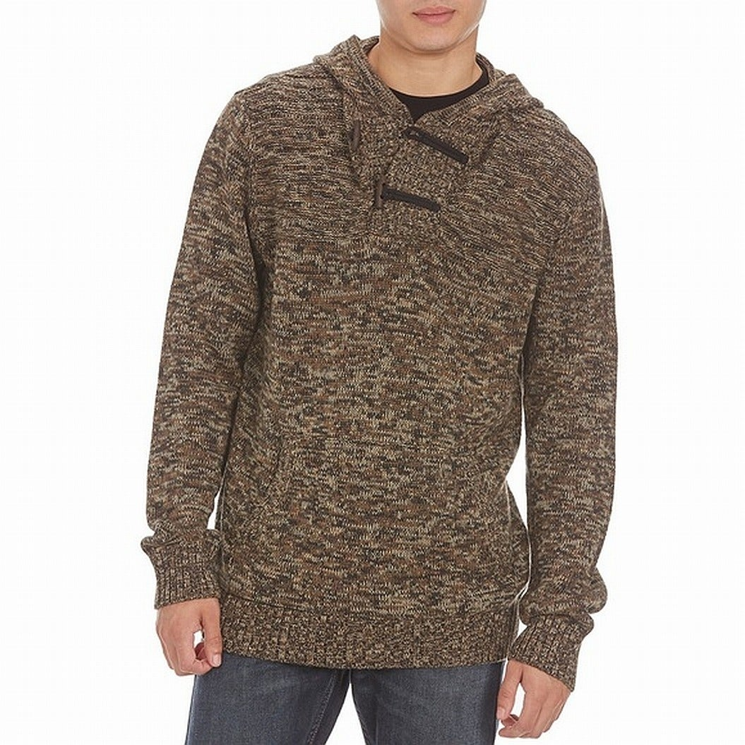 Retrofit Heather Mens Pullover Shawk-Collar Sweater Brown XL
