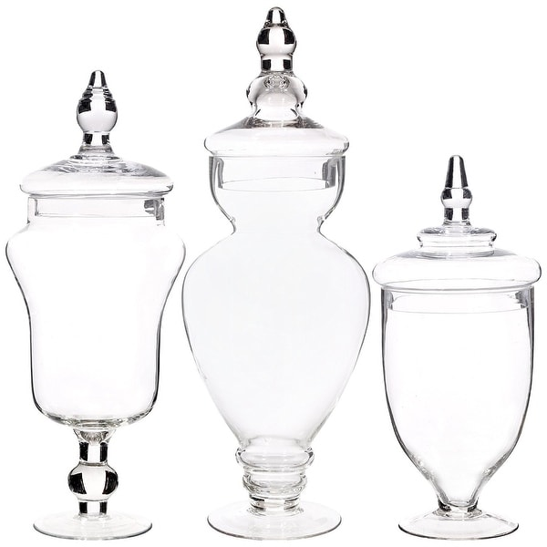 Palais Glassware Clear Glass Apothecary Jars - Set of 3 - Wedding Candy Buffet Containers (Large, Clear)
