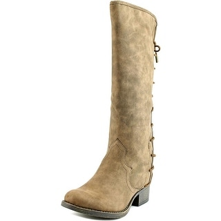 Steve Madden J Coal Youth Round Toe Canvas Brown Mid Calf Boot