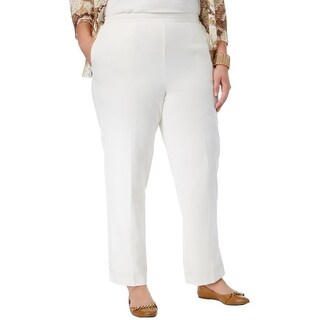 Alfred Dunner Womens Plus Casual Pants Crepe Comfort Waist