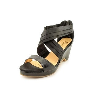 Beacon Alana Women W Open Toe Canvas Black Wedge Sandal