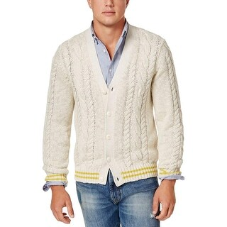 Tommy Hilfiger White Ivory Men Large L Cable Knit Cardigan Sweater