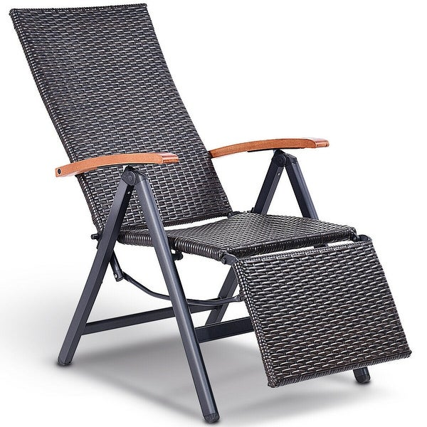 Shop Costway Patio Folding Chair Lounger Recliner Chair ...