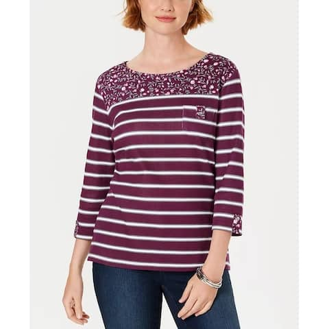 Karen Scott Women's Petite Ditsy Floral/Striped Pocket Top Red Size 44