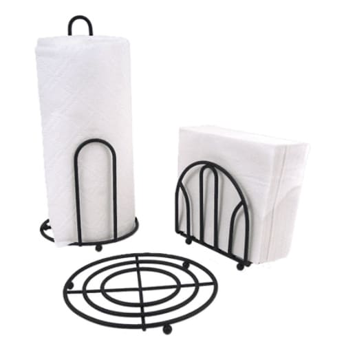 Anchor Hocking 13283BLK Black Pantryware Set, Paper Towel Holder, Napkin Holder & Trivet