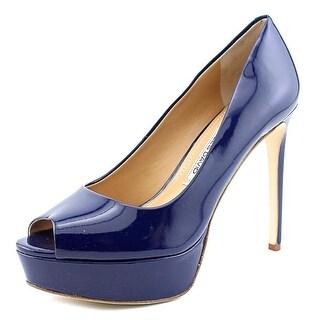 Charles David Nivia Women Peep-Toe Patent Leather Blue Heels
