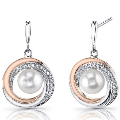 7.5mm Freshwater Cultured White Pearl Rosetone Sterling Silver Earrings