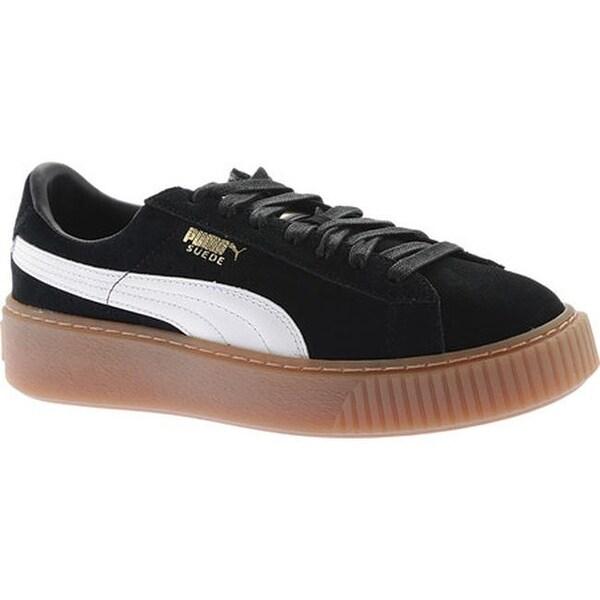 07d880eff9cf Shop PUMA Women s Suede Platform Sneaker PUMA Black PUMA White ...