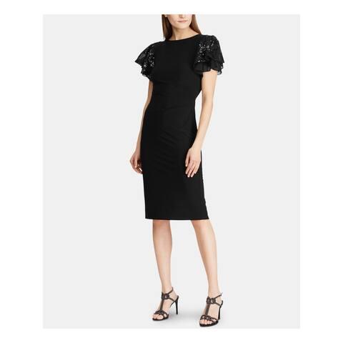 RALPH LAUREN Black Short Sleeve Below The Knee Dress 12