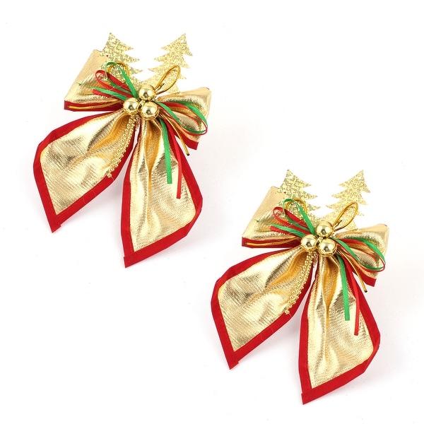 Unique Bargains Christmas Party Gold Tone Bowtie Style Xmas Tree Hanging Ornament 2pcs