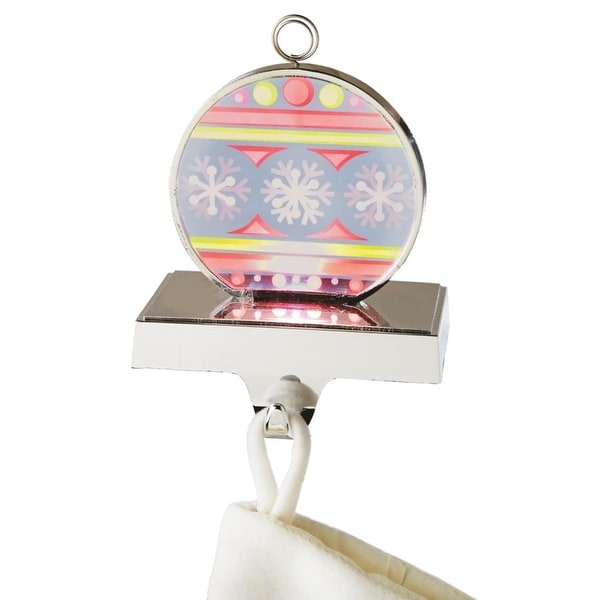 """6.75"""" LED Lighted Red and Yellow Flashing Snowflake Ornament Christmas Stocking Holder - WHITE"""