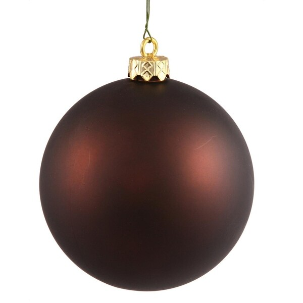 "Matte Chocolate Brown UV Resistant Commercial Shatterproof Christmas Ball Ornament 4"" (100mm)"