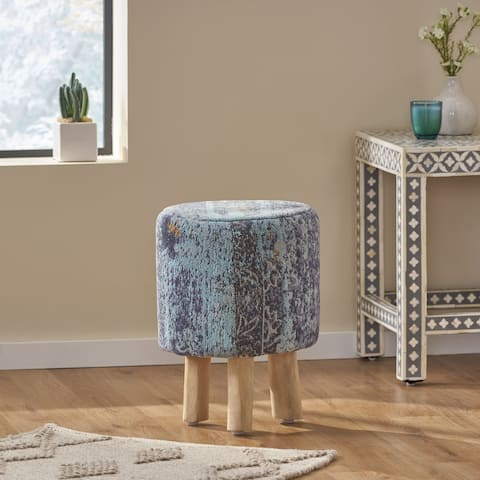 Easa Handcrafted Boho Jacquard Stool by Christopher Knight Home