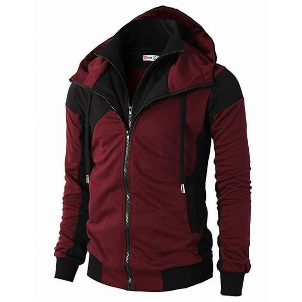 H2H Red Black Women's Size Medium M Zipped Front Hooded Jacket