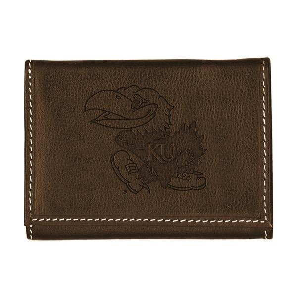 University of Kansas Contrast Stitch Trifold Leather Wallet