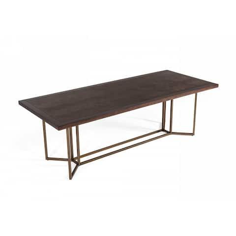 Carbon Loft Enbarr Modern Acacia and Brass Dining Table